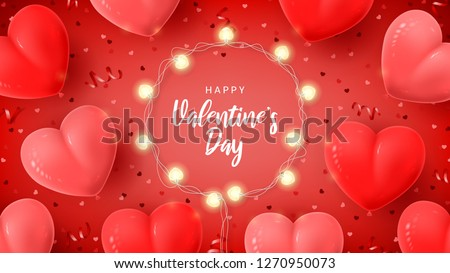 Happy Valentine's Day holiday card. Vector illustration with 3d red and pink air balloons, red serpentine and confetti, glowing garlands with bulbs in the shape of hearts.