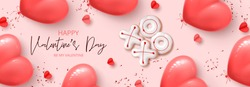 Happy Valentine's Day horizontal banner. Holiday background with realistic XO cookies, paper hearts, pink balloons and confetti. Vector illustration with 3d decorative objects for Valentine's Day.