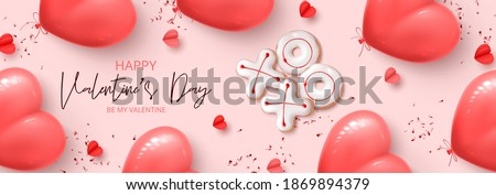 Happy Valentine's Day horizontal banner. Holiday background with realistic XO cookies, paper hearts, pink balloons and confetti. Vector illustration with 3d decorative objects for Valentine's Day. ストックフォト ©
