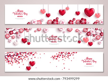Happy Valentine's Day horizontal banners set with tree and hearts. Vector illustration. Holiday bright greeting cards, love creative concept, gift voucher, invitation. Place for text.