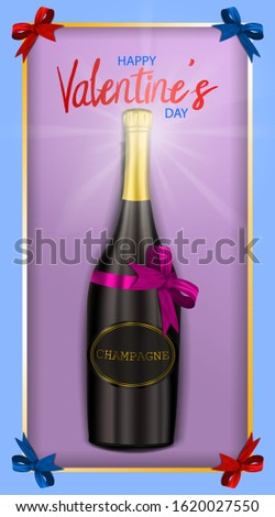Happy Valentine's Day, horizontal pink postcard for your design, gift set with champagne bottle, glare and realistic bows, realistic vector illustration