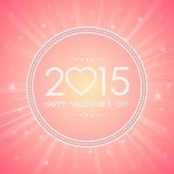 happy valentine's day 2015 in circle with light ray pattern on sweet pink background (vector)