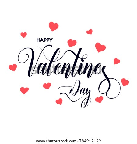 Happy Valentine's Day inscription decorated with red hearts. Vector illustration. #784912129