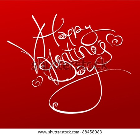 Happy Valentine's Day inscription with hearts, vector illustration.