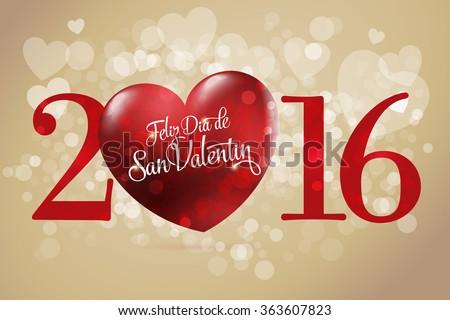 Happy Valentineu0027s Day Lettering Card. (Spanish: Feliz Dia De San Valentin)  Red