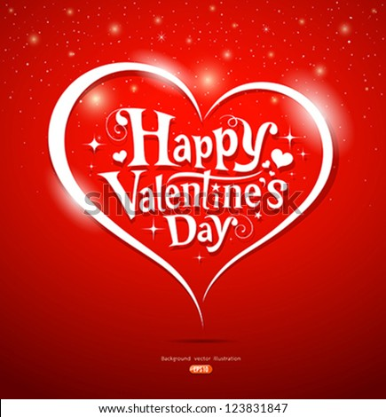 Happy Valentine's Day lettering Greeting Card on red background, vector illustration