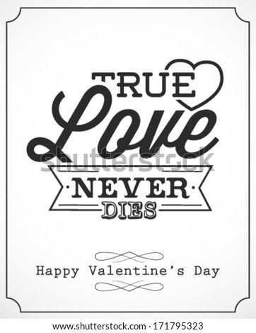 Happy Valentine's Day Lettering Greeting Card Template. Vector Illustration in Vintage Style