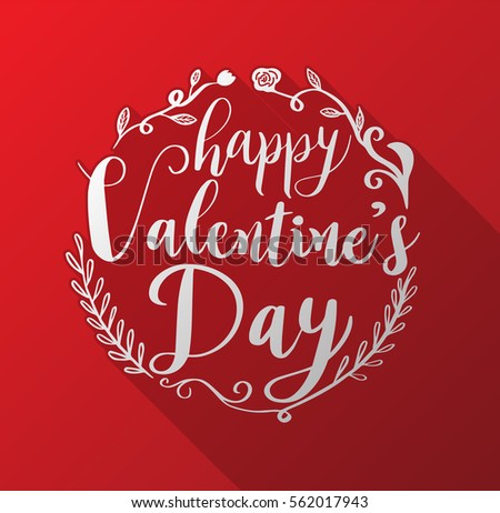 Happy Valentineu0027s Day Lettering On Red Hearts Background. Vector  Illustration For Valentineu0027s Card.