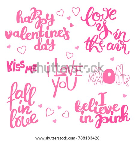 Happy Valentine's Day. Lettering. Set. Isolated vector object on white background.