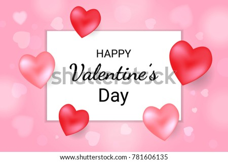 Happy Valentine's Day Lettering Text Background With Red Heart And Frame. Vector #781606135