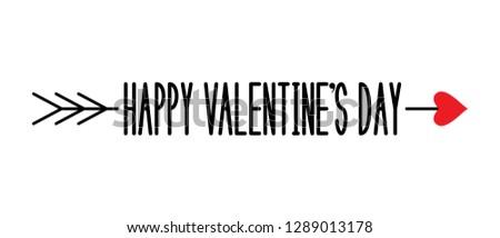 Happy Valentine's Day. Love arrow. Arrow of Eros (Amour, Cupid). Vector illustration.