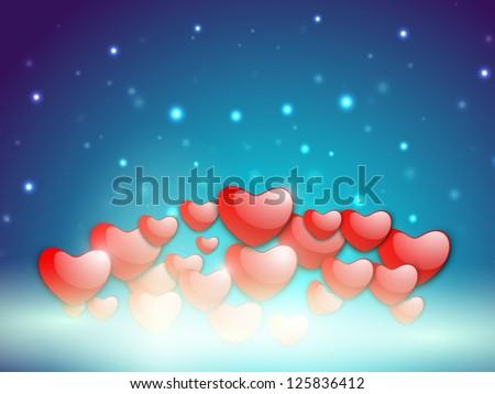 Happy Valentine's Day love background, greeting card with glossy red hearts balloons in the sky. EPS 10.