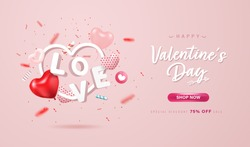 Happy Valentine's Day online shopping banner or background design. Lovely 3D hearts, love letter and confetti on pastel pink background. Promotion, Special discount poster design.