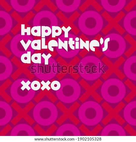Happy Valentine's Day over repeating XOXO background in red and bright pink over purple background. Seamless and repeating.