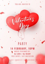 Happy Valentine's Day Party Flyer. Beautiful Background with Realistic Air Balloons in the Shape of Heart. Vector Illustration with Confetti. Invitation to Nightclub.