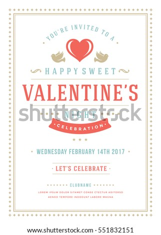Happy Valentine's Day Party Invitation or Poster Vector illustration. Retro typography design. Heart shape love symbol and elements, flyer template.
