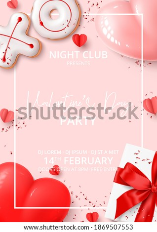 Happy Valentine's Day party poster. Holiday background with realistic XO cookies, paper hearts, gift box, balloons and confetti. Vector illustration with 3d decorative object. Invitation to nightclub.