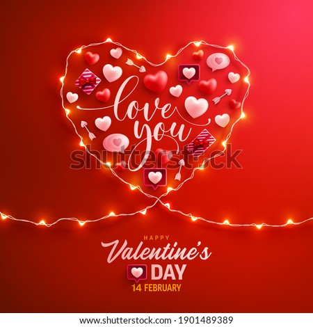 Happy Valentine's Day Poster or banner with symbol of heart from LED String lights and valentine elements on red background. Promotion and shopping template for love and Valentine's day concept.
