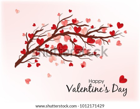 Happy Valentine's Day. Red elements hanging on the branch for  invitation or poster. Festive tree with paper heart shaped leaves. Promo greeting card with pink background.
