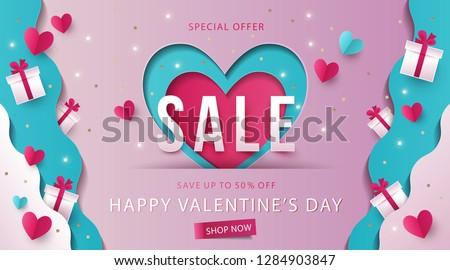 Happy Valentine's Day Sale background, banner, poster or flyer design. Vector illustration with gift boxes on waves of love made of paper and hearts in origami style. Paper art, digital craft style #1284903847
