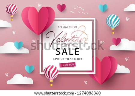 Happy Valentine's Day Sale background. Banner, poster or flyer design with flying Origami Hearts over clouds with air balloons in the sky. Paper art, digital craft style. Vector illustration