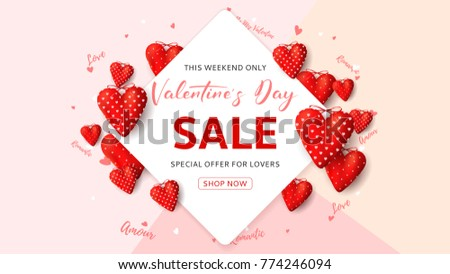 Happy Valentine's Day Sale Seasonal Banner. Beautiful Background with Realistic Red Fabric Hearts and Confetti. Vector Illustration with Discount Offer.