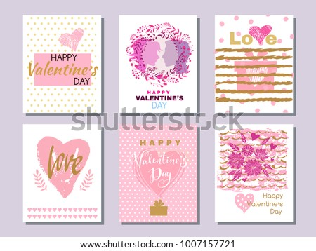 Happy  Valentine's Day. Set of beautiful greeting cards  with hearts. Festive art  background.Perfect handdrawn design element for poster, banner, wedding invitation. Vector illustration. #1007157721