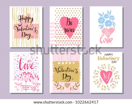 Happy Valentine's Day. Set of beautiful greeting cards with hearts. Festive art  background. Perfect hand drawn design element for poster, banner, wedding invitation. Vector illustration. #1022662417