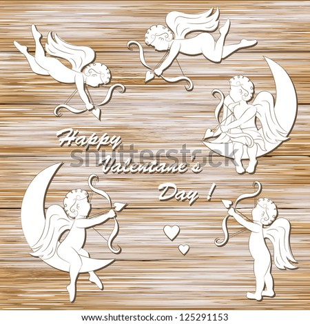 Happy valentine`s day, set of cupid on a wood background