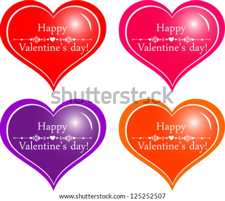 Happy Valentine's Day! Set of hearts isolated on White background. Vector illustration