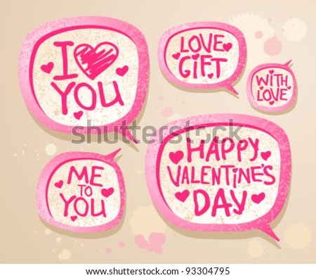 Happy Valentine`s day speech bubble icons.