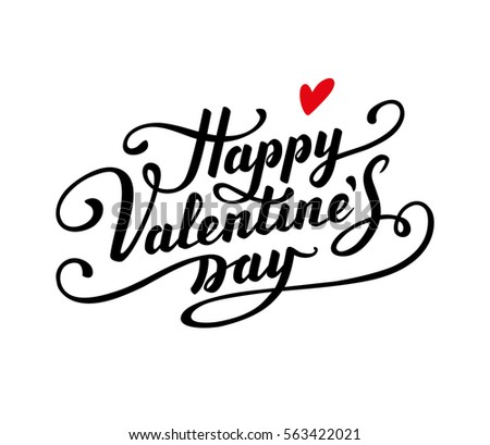 happy valentines day text calligraphic lettering greeting card template