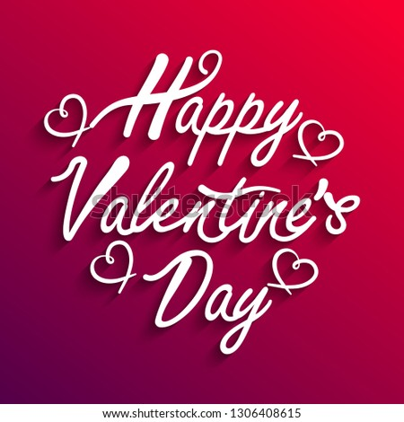 Happy Valentine's day text, hand lettering typography poster on gradient background. Vector illustration. Invitation, banner template Party Flyer. Vector illustration EPS10 - Vector #1306408615