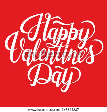 Happy Valentine's Day text. Valentine's typography. Vector illustration of Valentine Greeting Card with swirl. White typography.