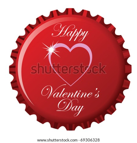 happy valentine's day theme on bottle cap against white background, abstract vector art illustration