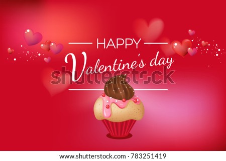 Happy Valentine's day theme romantic background, big place for text. Realistic cute little yummy cupcake vanilla muffin with chocolate topping, strawberries glaze and silver sprinkles. Red and hearts