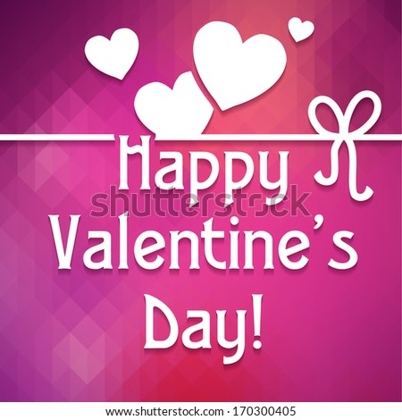 "Happy Valentine's Day! Typographical background ""Happy Valentine's Day"" on the pink geometric pattern and hearts. Happy Valentine's Day Hand Lettering - Typographical Background"