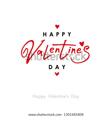 Happy Valentine's Day. Valentine's Day greeting card template with typography red and black text happy valentine`s day and red hearts. Vector illustration