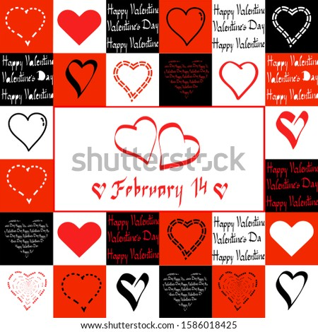 Happy Valentine's day. Valentine's day seamless pattern collage. Set of words, phrases and pictures created in various art styles for Love.  Font.  Vector illustration