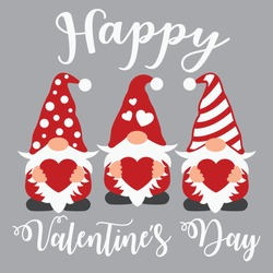 Happy Valentine's day vector design, Valentine's day gnomes cut file
