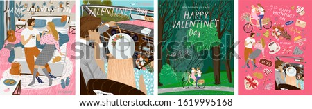 Happy Valentine's day! Vector illustration for the holiday of love - February 14th. Drawings of a couple at home, newlyweds in a retro car and lovers on a bicycle in nature