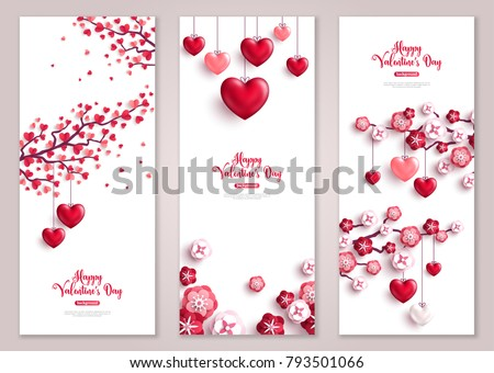Happy Valentine's Day vertical banners set. Vector illustration. Holiday brochure design, greeting cards, love creative concept, gift voucher, invitation. Valentine tree with hearts.
