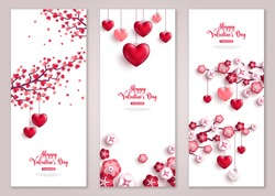 Happy Valentine's Day vertical banners set with tree and hearts. Vector illustration. Holiday brochure design, greeting cards, love creative concept, gift voucher, invitation.