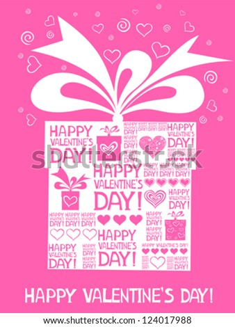 Happy valentine's day! Vintage Valentine's Day Card. Vector Illustration