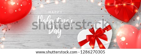 Happy Valentine's Day web banner. Vector illustration with shining lights garland, realistic gift boxes, air balloons and sparkling golden confetti on wooden texture. Holiday card.
