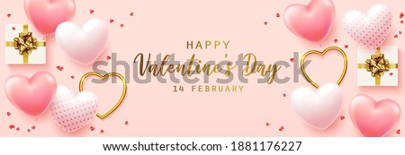 Happy Valentine's Day with calligraphy text. Horizontal banner for the website. Romantic background with realistic design elements, gift box, metal hearts, balloons in the shape of heart, strewn with