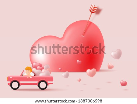 Happy Valentine's day with cute cupid and 3d art style vector illustration
