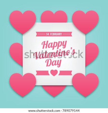 Happy Valentine's Day with Paper Cut Heart Shaped on Blue Background