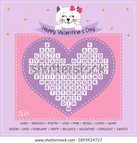 Happy Valentine's Day word search puzzle for learning English. Crossword with cute kitty. Vector illustration. Find hidden words about love.  Foto stock ©