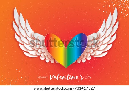Happy valentines day greeting card download free vector art happy valentines gay day greetings card origami cute angel wings and rainbow spectrum flag heart m4hsunfo